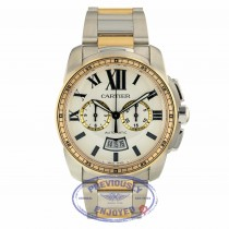 Cartier Calibre Chronograph 42MM Stainless and Rose Gold Watch W7100042 VC39AR - Beverly Hills Watch Company
