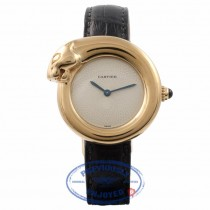 Cartier Panther Head Watch 18k Yellow Gold Ladies Ivory Dial PCWVHZ - Beverly Hills Watch Company Watch Store