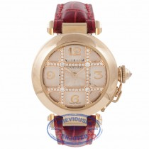 Cartier Pasha 18K Rose Gold Diamond Grid Silver Giouche Dial 2620 PVA8XK - Beverly Hills Watch Store