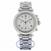 Cartier Pasha 38mm Chronograph 18k White Gold Customized Diamond Bezel R38WUH - Beverly Hills Watch Company
