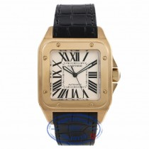 Cartier Santos Yellow Gold White Dial Black Alligator Strap W20071Y1 5L2F5Y - Beverly Hills Watch Store