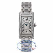 Cartier Tank Americain White Gold Diamond Bezel Silver Dial WB7073L1 T3XXH5 - Beverly Hills Watch Store