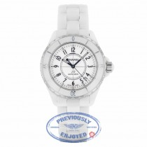 Chanel Auto 38mm White Ceramic White Dial Arabic Numerals J-12 V79UFH - Beverly Hills Watch Company