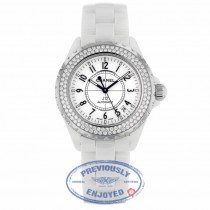 Chanel J12 White Ceramic Bracelet 38mm Double Row Diamond Bezel Watch H0969 RHGZBH - Beverly Hills Watch Company