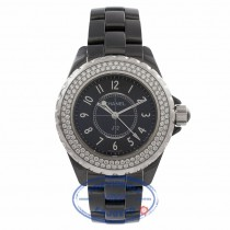 Chanel J12 Black Ceramic Diamond Bezel Black Dial H0949 VH3H53 - Beverly Hills Watch Store