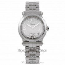 Chopard Happy Sport Medium Stainless Steel Silver Dial 7 Floating Diamonds on Bracelet 278559-3002 7ZJF8Q - Beverly Hills Watch Company Watch Store