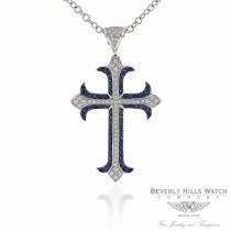 Naira & C Diamond & Sapphire Cross Pendant 18K White Gold R0QZQ1 - Beverly Hills Watch