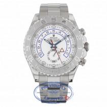 Rolex Yachtmaster II White Arabic Dial Oyster Bracelet 18k White Gold Paltinum 116689  - Beverly Hills Watch