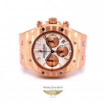 Audemars Piguet Royal Oak Chronograph 38mm Rose Gold Silver Dial 26315OR.1256OR.01 DHHPJ5 - Beverly Hills Watch Company