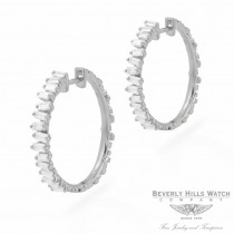 Designs by Naira 18k White Gold Baguette Medium Hoops Earrings 39640 6RPJU9  - Beverly Hills Jewelry Store