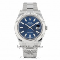 Rolex Datejust II 41mm Stainless Steel 18K White Gold Fluted Bezel Blue Dial 116334 - Beverly Hills Watch