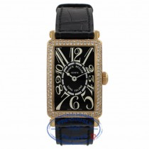 Franck Muller 18k Yellow Gold Long Island Ladies Diamond Bezel Black Dial 900QZD UCRAJ7 - Beverly Hills Watch Company Watch Store