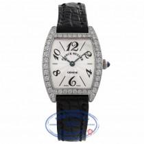 Franck Muller Cintree Curvex 21MM 18k White Gold Silver Dial Diamond Bezel Black Strap 2251 QZ DP WGE X3VPT1 - Beverly Hills Watch Company Watch Store