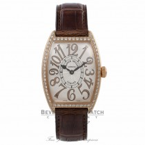 Franck Muller Curvex Relief 18k Rose Gold Diamond Bezel Quartz Silver Dial 2852 QZ D 1R XLYAKE - Beverly Hills Watch Company Watch Store