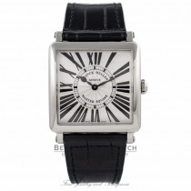 Franck Muller Master Square Quartz Stainless Steel Silver Dial Black Alligator Strap 6002 M QZ R - S5WH4K - Beverly Hills Watch Company Watch Store