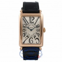 Franck Muller Long Island 18k Rose Gold Silver Dial Black Alligator Strap 1002QZ CPWNA6