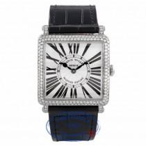 Franck Muller Master Square Medium Stainless Steel Diamond Bezel Black Alligator Strap 6002 M QZ D ARDE3W - Beverly Hills Watch Company Watch Store