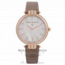Harry Winston Premier 36MM Ladies 18k Rose Gold Diamond Bezel Mother of Pearl Diamond Markers Dial PRNQHM36RR001 4N1K5F - Beverly Hills Watch Company Watch Store