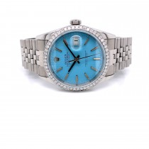 Rolex Datejust 36mm Customized Diamond Bezel and Tiffany Blue Dial 16220 HMJASE - Beverly Hills Watch Company