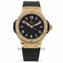Hublot Big Bang Black Dial Black Rubber Diamond Bezel 361.PX.1280.RX.1104 73E5R7 - Beverly Hills Watch Company