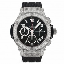 Hublot Big Bang Chronograph 41MM Diamond Case and Bezel Stainless Steel Black Rubber Strap 341.SX.130.RX.174 XVADW8 - Beverly Hills Watch Company Watch Store