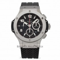 Hublot Big Bang Chronograph 44MM Stainless Steel Black Dial Black Rubber Strap 301.SX.130.RX 6PHQTX - Beverly Hills Watch Store