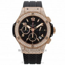 Hublot Big Bang Chronograph 41MM Automatic 18k Rose Gold Diamond Bezel & Case Black Dial 341.PX.130.RX.174 WHUFR3 - Beverly Hills Watch Company Watch Store