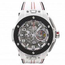 Hublot Big Bang Ferrari Chronograph 45MM Automatic Ceramic Skeleton Dial White Leather Strap 401.HQ.0121.VR ACYJ30 - Beverly Hills Watch Company Watch Store