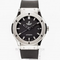 Hublot Classic Fusion Titanium Case/Bezel 45mm Black Rubber Strap Black Dial Watch 511.NX.1170.RX Beverly Hills Watch Company Watch Store