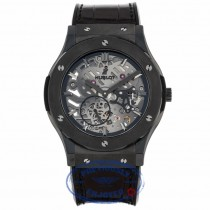 Hublot Classic Fusion Ultra Thin 45MM Ceramic Titanium Skeleton Dial Black Alligator Rubber Strap 515.CM.0140.LR NPQVY6 - Beverly Hills Watch Company