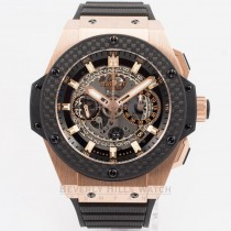 Hublot King Power UNICO King Gold Rose Gold Case Carbon Fiber Bezel Skeleton Dial Black Rubber Strap Watch 701.OQ.0180.RX Beverly Hills Watch Company Watch Store