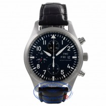 IWC Pilot Chronograph Stainless Steel Black Dial Black Crocodile Strap IW3717.01 UPCZEQ - Beverly Hills Watch Company Watch Store