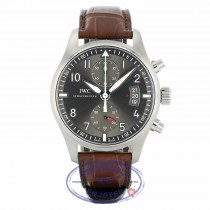IWC Pilot Spitfire Ardoise Gray Dial Stainless Steel 43MM Brown Alligator Strap IW387802 CHVK2E - Beverly Hills Watch Company