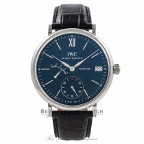 IWC Portofino 45MM Hand-Wound 8 Day Power Reserve Stainless Steel Blue Dial IW510106 05FE3D - Beverly Hills Watch Company Watch Store