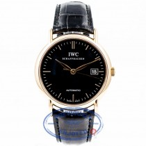 IWC Portofino 18K Rose Gold Black Dial Black Alligator Strap Watch IW353318 Luxury Watches Beverly Hills