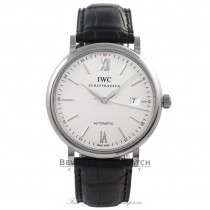 IWC Portofino 40MM Stainless Steel Silver Dial Automatic Black Alligator Strap IW356501 ND04E9 - Beverly Hills Watch Company Watch Store