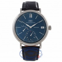 IWC Portofino 45MM Hand-Wound 8 Day Power Reserve Stainless Steel Blue Dial IW510106 KEUP7T - Beverly Hills Watch Company Watch Store