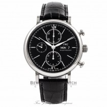 IWC Portofino Chronograph Stainless Steel Black Dial IW391002 BA6UXU - Beverly Hills Watch Company Watch Store