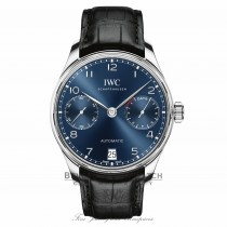 IWC Portugieser Seven Day Reserve 42.3mm Blue Dial Stainless Steel IW500710 7U41MT
