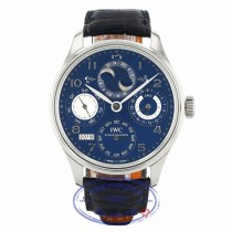 IWC Portuguese Perpetual Calendar Hemisphere Moonphase 44MM 18k White Gold Blue Dial Black Alligator Strap IW503203 LQWWQC - Beverly Hills Watch Company