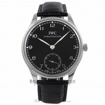 IWC Portuguese 44mm Stainless Steel Manual Wind Black Dial IW545407 4MCJAP - Beverly Hills Watch Company Watch Store