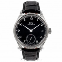 IWC Portuguese 8 Days Hand Wound Leather Black dial IW510202 0JVUDP