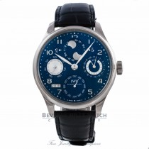 IWC Portuguese Perpetual Calendar Hemisphere Moonphase 44MM 18k White Gold Blue Dial Black Alligator Strap IW503203 WKLD5F - Beverly Hills Watch Company