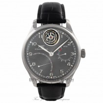 IWC Portuguese Tourbillon Mystere Retrograde Limited Edition 44MM Platinum Ruthenium Black Dial IW504401 V31L8K - Beverly Hills Watch Company Watch Store