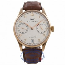IWC Portuguese 7 Day 18k Rose Gold White Dial 42.3MM Brown Alligator Strap IW500113 CR2X4E - Beverly Hills Watch Company Watch Store