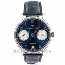 IWC Portuguese 7 Day Stainless Steel Power Reserve Blue Dial Watch IW5001.12 Beverly Hills Watch Company Watches