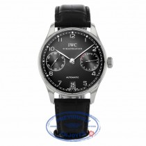 IWC Portuguese 7 Day Reserve Stainless Steel Black Dial IW500109 - Beverly Hills Watch