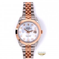 Rolex Datejust 41mm Rose Gold and Stainless Steel Mother of Pearl Diamond dial 126301 JDVPXW - Beverly Hills Watch Company