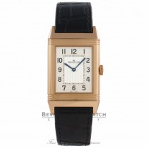 Jaeger LeCoultre Grande Reverso Ultra Thin 18k Rose Gold Silver Dial Alligator Strap Q2782520 KYW6PL - Beverly Hills Watch Company