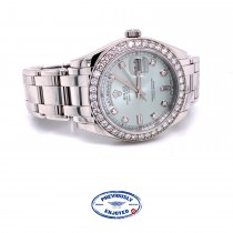 Rolex Day-Date Platinum Masterpiece Diamond Bezel Glacier Blue Diamond Dial 18946 LFYCRY - Beverly Hills Watch Company